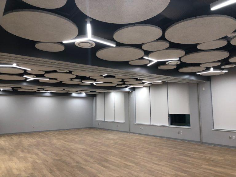 school_acoustic_ceiling_Wood fiber panels